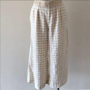 Anthropologie Elevenses Cream linen Blend pants